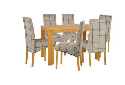 HOME Hillingdon Oak Veneer Table & 6 Skirted Chairs-Checked.